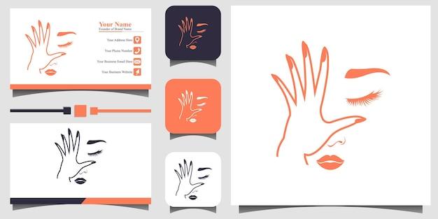 名刺テンプレートの背景を持つ美しさの若い女性のロゴデザインイラスト