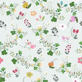 Beautyful flower in forest seamless pattern.