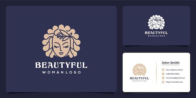 Beautyful 숙녀 로고 디자인 및 명함