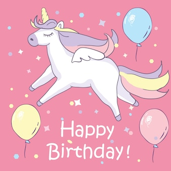Beautyful unicorn. on pink background with baloons and happy birthday text.