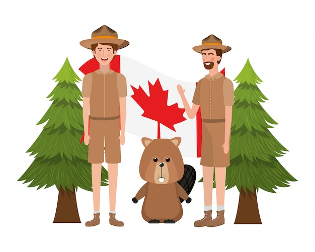 비버 동물과 캐나다의 레인저