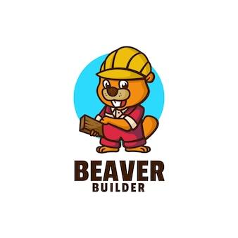 ビーバービルダーマスコット漫画スタイルのロゴ