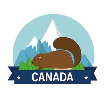 ビーバーカナダの動物のシーンのベクトルのイラストのデザイン