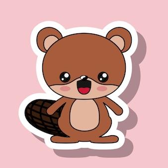 Beaver character kawaii style isolated