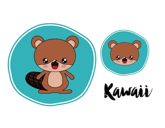 Beaver character kawaii style
