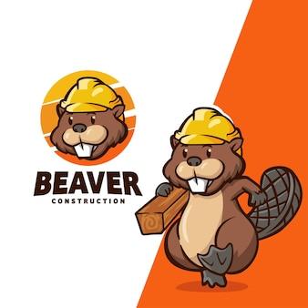 建設会社に適したビーバーキャラクターマスコット漫画のロゴ