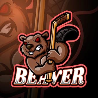 Beaver esport логотип талисман дизайн