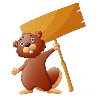 A beaver holding a sign board on a white background