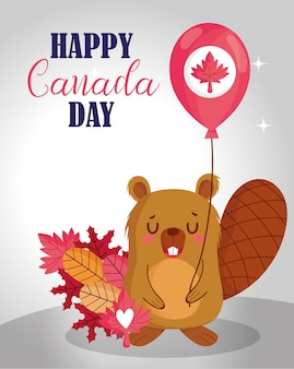 Beaver with canadian balloon design