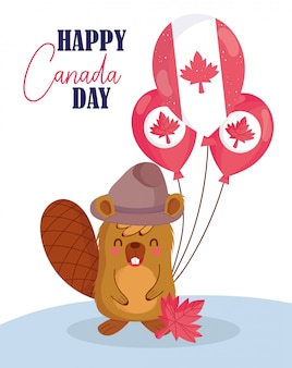 Beaver with canadian balloons design