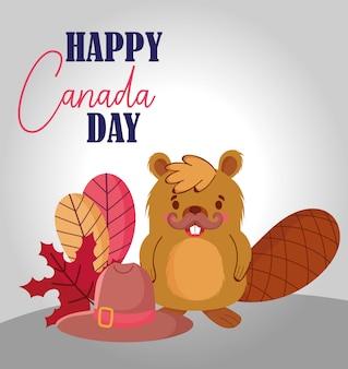 カナダの葉と帽子のデザインのビーバー