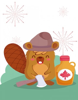 Beaver with canadian maple syrup design