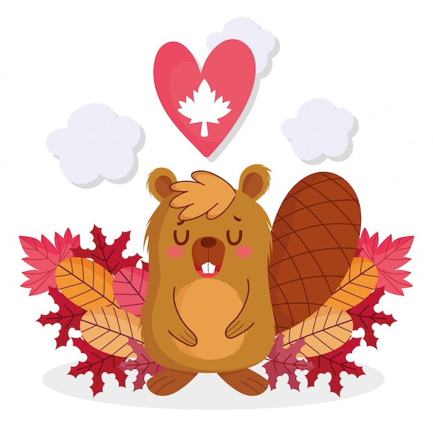 Beaver with maple leaf heart of happy canada day