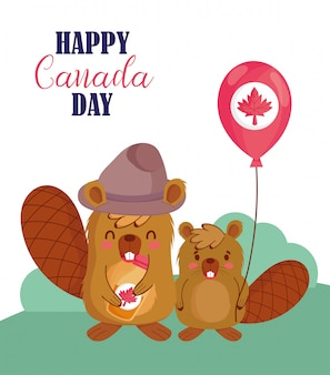 Beavers with canadian balloon design