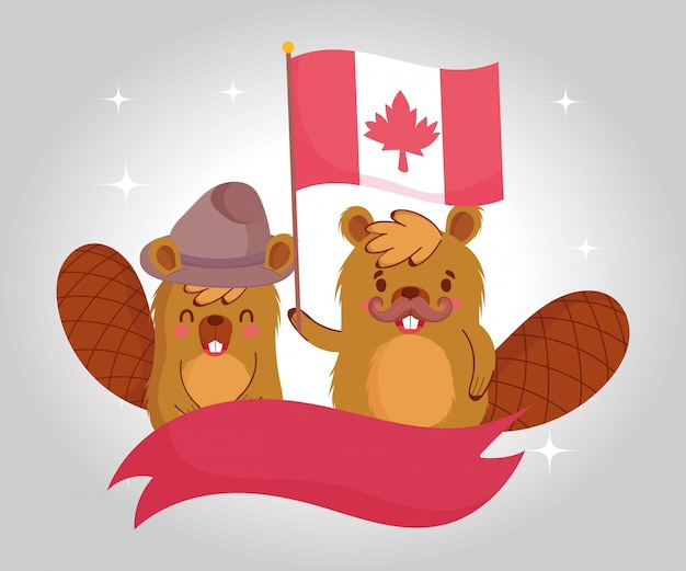 カナダの旗とリボンデザインのビーバー