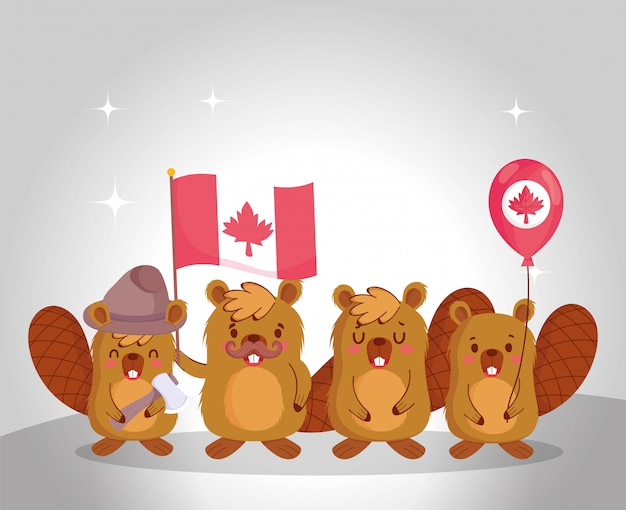 Beavers with canadian flag and balloon design