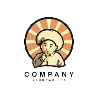 Beby chef   illustration design logo Premium Vector