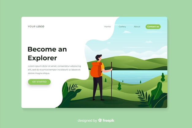 Become an explorer adventure landing page