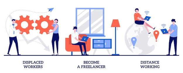 Become a freelancer, distance working concept with tiny people illustration