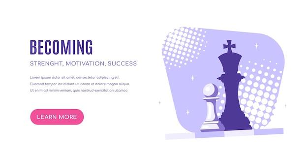 Став. шахматная пешка, падающая тень королевы. сильное стремление и концепция лидерства