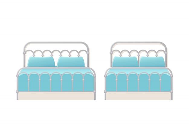 ベッド。 。ベッドルーム、ホテルの部屋用のフラットなダブルシングルメタルベッド。分離された漫画セット。家具のアイコン。アニメーションハウス機器。