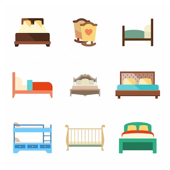 Bed flat icons set