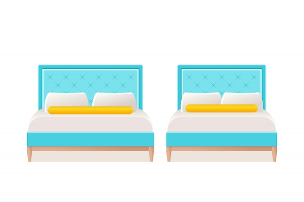Bed icon in flat .  cartoon illustration.