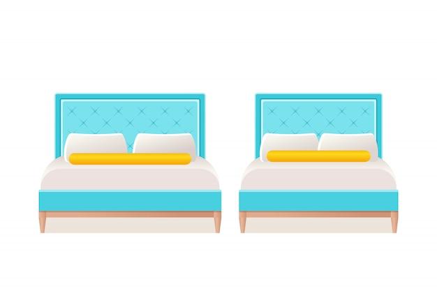 フラットのベッドアイコン。漫画イラスト。