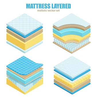 Bed mattress layers orthopedic set