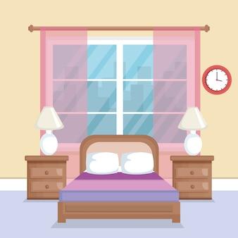 ベッドルームのシーンのアイコン