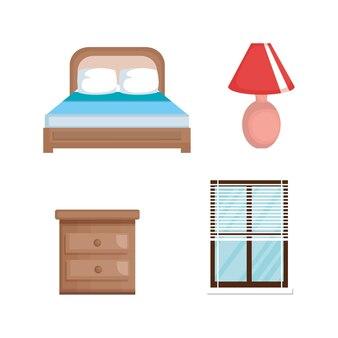 ベッドルームセットのアイコン