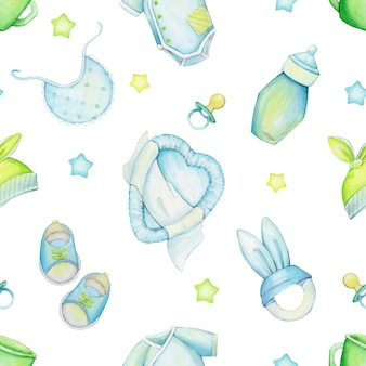 Bed, stars, pacifier, shoes, clothes, hat, mug, toys. watercolor seamless pattern, on an isolated background.