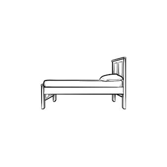 Кровать с подушкой рисованной наброски каракули значок. мебель для спальни для сна - кровать с подушкой векторные иллюстрации эскиз для печати, интернета, мобильных устройств и инфографики, изолированные на белом фоне.