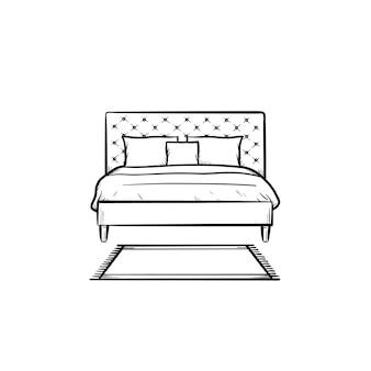 Кровать с подушками рисованной наброски каракули значок. мебель для спальни для сна - кровать с подушками вектор эскиз иллюстрации для печати, интернета, мобильных устройств и инфографики, изолированные на белом фоне.