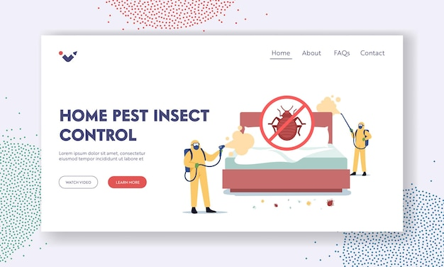 Bedbugs extermination professional service landing page template. pest control doing room disinsection against bed bugs. exterminators characters spray toxic liquid. cartoon people vector illustration