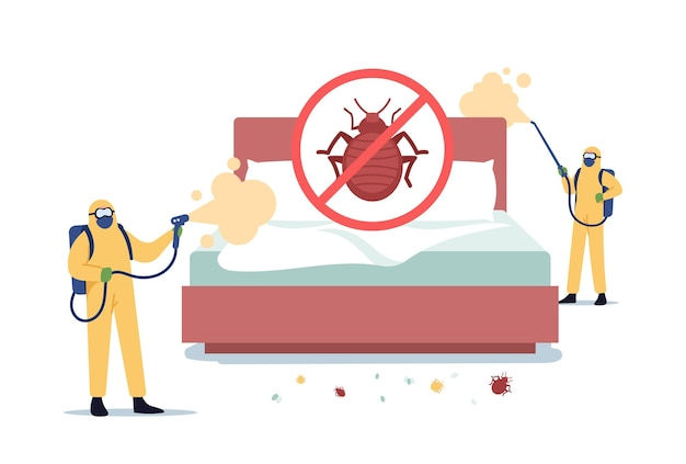 Bedbugs extermination professional service. pest control doing room disinsection against bed bugs. exterminators characters in hazmat suits spraying toxic liquid. cartoon people vector illustration