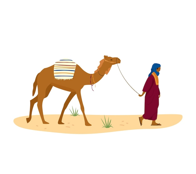 Bedouin leads his camel in desert. arab character in traditional dress and turban.