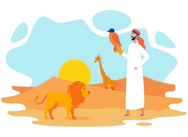 Бедуины с ястребом в пустынном плоском персонаже
