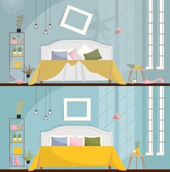Спальня до и после уборки. грязная комната интерьер с разбросанной мебелью и предметами. интерьер спальни с кроватью, тумбочками, шкафом и большими окнами. плоский мультфильм стиль векторные иллюстрации.