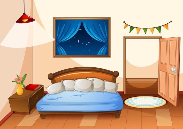 Спальня мультяшном стиле в ночной сцене