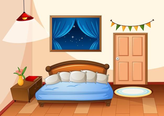밤 장면에서 침실 만화 스타일