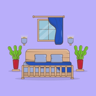 Спальня классическая с односпальной кроватью, светильником и декоративными растениями