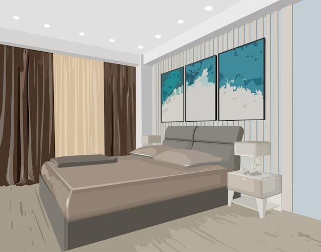 Концептуальный интерьер спальни с современной дизайнерской кроватью и росписью