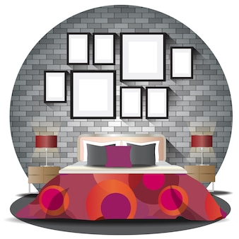 Bedroom elevation set with background