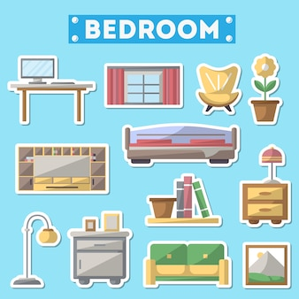 Bedroom furniture icon set in flat style