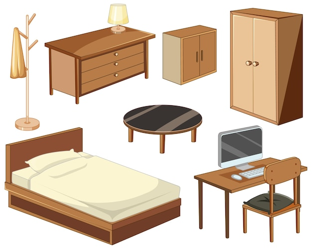 Bedroom furniture objects isolated on white background