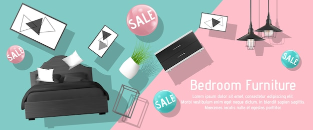 Bedroom furniture sale ad banner template