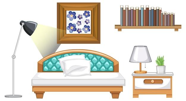 흰색 바탕에 인테리어 디자인을 위한 침실 가구 세트