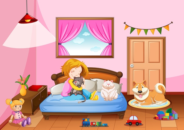 Bedroom of girl in pink color theme with a girl and pet animal