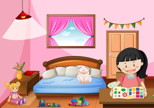 Bedroom of girl in pink color theme with a girl